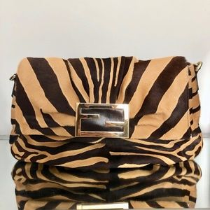 Fendi Mia Animal Print Calf hair Shoulder Bag